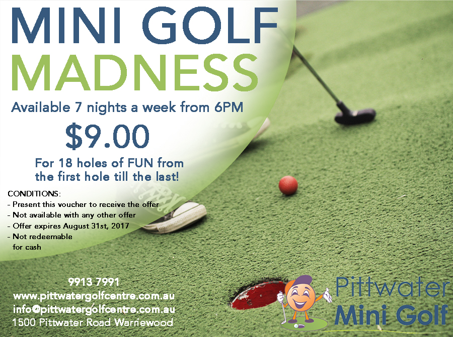 Mini golf madness voucher special sydney 2017